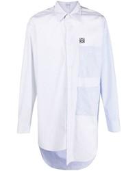 Camisa de manga larga de patchwork en blanco y azul de Loewe