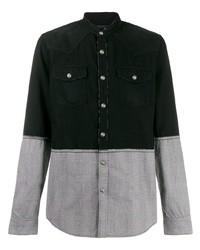 Camisa de manga larga de patchwork negra de Balmain