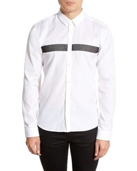 Camisa de manga larga de rayas horizontales blanca