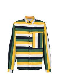 Camisa de manga larga de rayas horizontales en multicolor