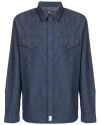 Camisa de manga larga de rayas verticales azul marino de A.P.C.