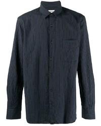 Camisa de manga larga de rayas verticales azul marino de Aspesi