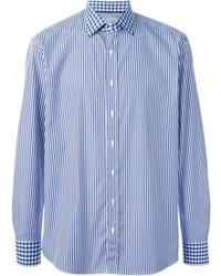Camisa de manga larga de rayas verticales azul