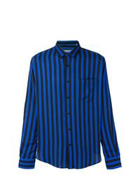Camisa de Manga Larga de Rayas Verticales Azul de AMI Alexandre Mattiussi