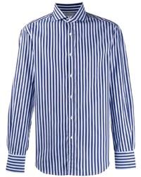 Camisa de manga larga de rayas verticales azul de Brunello Cucinelli