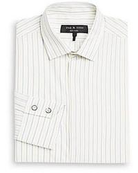 Camisa de manga larga de rayas verticales blanca