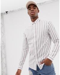 Camisa de manga larga de rayas verticales blanca de ASOS DESIGN