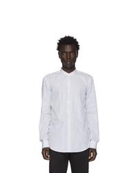 Camisa de manga larga de rayas verticales blanca de BOSS