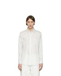 Camisa de manga larga de rayas verticales blanca de Comme Des Garcons SHIRT