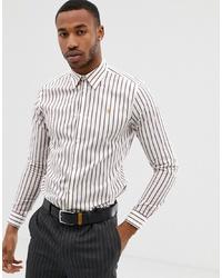 Camisa de manga larga de rayas verticales blanca de Farah Smart
