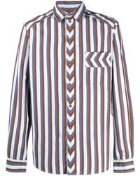 Camisa de manga larga de rayas verticales blanca de Henrik Vibskov