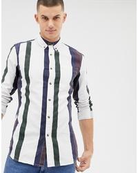 Camisa de manga larga de rayas verticales blanca de New Look