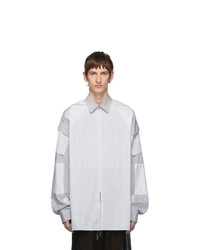 Camisa de manga larga de rayas verticales blanca de Random Identities