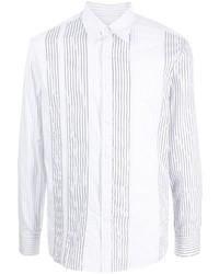 Camisa de manga larga de rayas verticales blanca de Salvatore Ferragamo