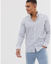 Camisa de manga larga de rayas verticales blanca de Selected Homme