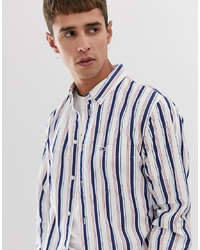 Camisa de manga larga de rayas verticales blanca de Tommy Jeans