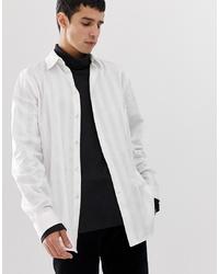 Camisa de manga larga de rayas verticales blanca de Weekday
