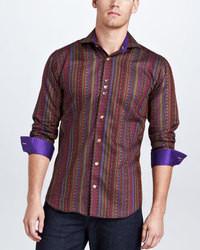 Camisa de manga larga de rayas verticales burdeos