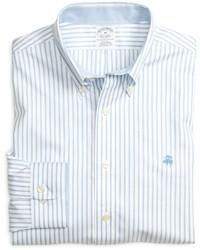 Camisa de manga larga de rayas verticales celeste