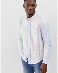 Camisa de manga larga de rayas verticales celeste de Abercrombie & Fitch