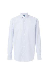Camisa de manga larga de rayas verticales celeste de Barba