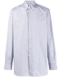 Camisa de manga larga de rayas verticales celeste de Brioni