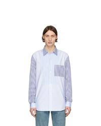 Camisa de manga larga de rayas verticales celeste de Burberry