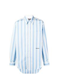Camisa de manga larga de rayas verticales celeste de Calvin Klein 205W39nyc