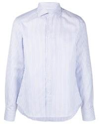 Camisa de manga larga de rayas verticales celeste de Canali