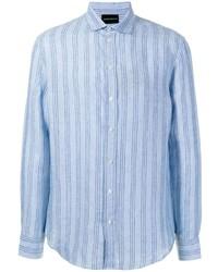Camisa de manga larga de rayas verticales celeste de Emporio Armani