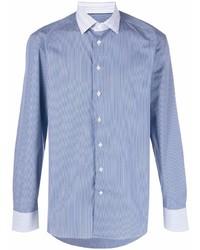 Camisa de manga larga de rayas verticales celeste de Etro