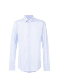 Camisa de manga larga de rayas verticales celeste de Fashion Clinic Timeless
