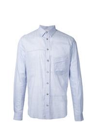 Camisa de manga larga de rayas verticales celeste de Forme D'expression
