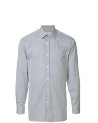 Camisa de manga larga de rayas verticales celeste de Gieves & Hawkes