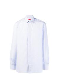Camisa de manga larga de rayas verticales celeste de Isaia