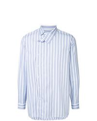 Camisa de manga larga de rayas verticales celeste de Jil Sander