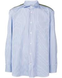 Camisa de manga larga de rayas verticales celeste de Junya Watanabe MAN