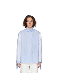 Camisa de manga larga de rayas verticales celeste de JW Anderson