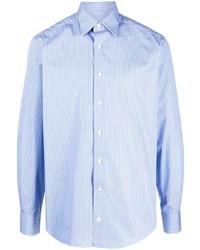 Camisa de manga larga de rayas verticales celeste de Lanvin