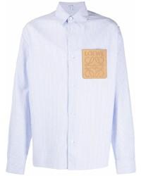 Camisa de manga larga de rayas verticales celeste de Loewe