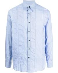 Camisa de manga larga de rayas verticales celeste de Salvatore Ferragamo