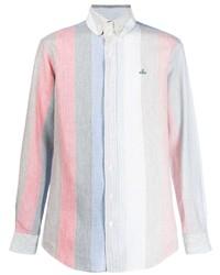 Camisa de manga larga de rayas verticales celeste de Vivienne Westwood