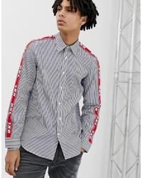 Camisa de manga larga de rayas verticales en azul marino y blanco de Diesel