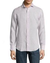 Camisa de manga larga de rayas verticales en beige