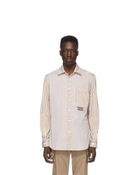 Camisa de manga larga de rayas verticales en beige de Burberry