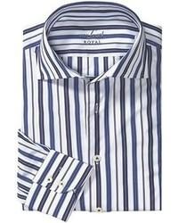 Camisa de manga larga de rayas verticales en blanco y azul marino