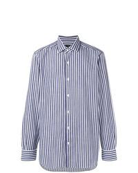 Camisa de manga larga de rayas verticales en blanco y azul marino de Barba