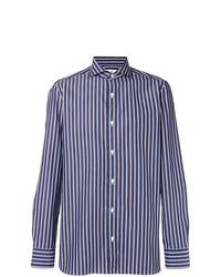 Camisa de manga larga de rayas verticales en blanco y azul marino de Borrelli