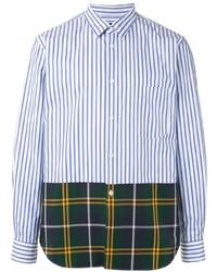 Camisa de manga larga de rayas verticales en blanco y azul marino de Comme Des Garcons Homme Plus