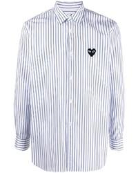 Camisa de manga larga de rayas verticales en blanco y azul marino de Comme Des Garcons Play